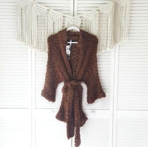 KENSIE Brown Fuzzy Teddy Wrap Cardigan Sweater L